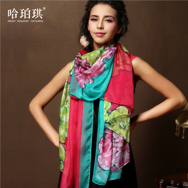 Ms. ha poqi new retro wild chiffon scarf shawl dual oversized silk scarf female long section dongkuan