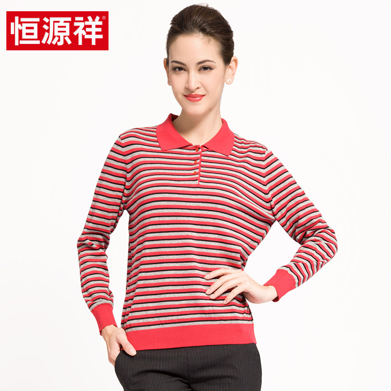 Ms. heng yuan xiang 2016 spring and autumn long sleeve t-shirt mother dress middle-aged big yards lapel cotton t-shirt shirt female