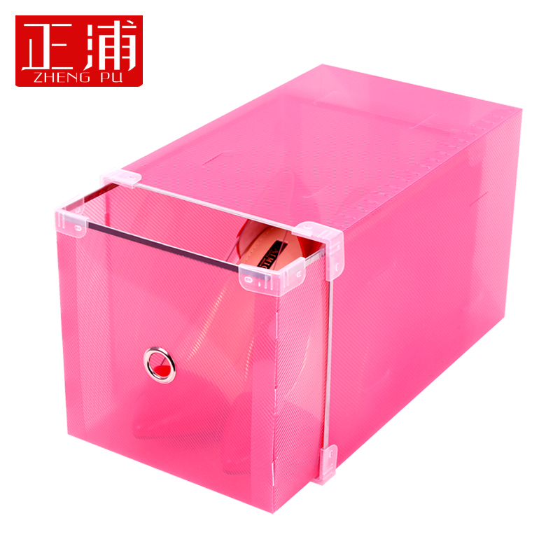 Ms. high heels are pu clamshell drawer shoebox metal edging drawer shoebox thick transparent shoe shoe combination
