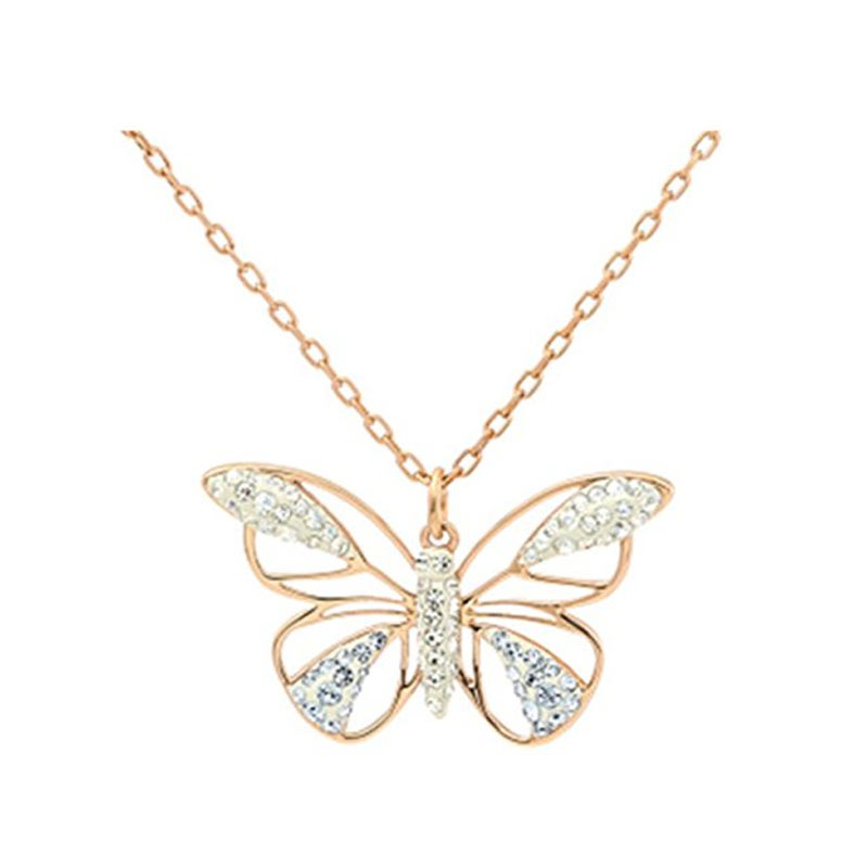 Ms. hollow butterfly swarovski swarovski crystal pendant rose gold necklace 5079315