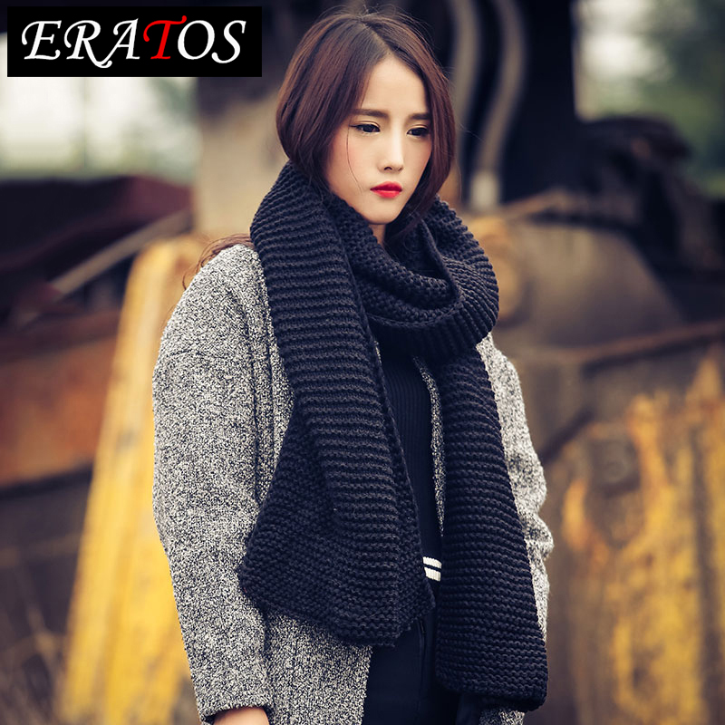 Ms. korean version of a long section of korean female winter wool scarves solid color knit male lovers thick warm korean version of the trend of wild