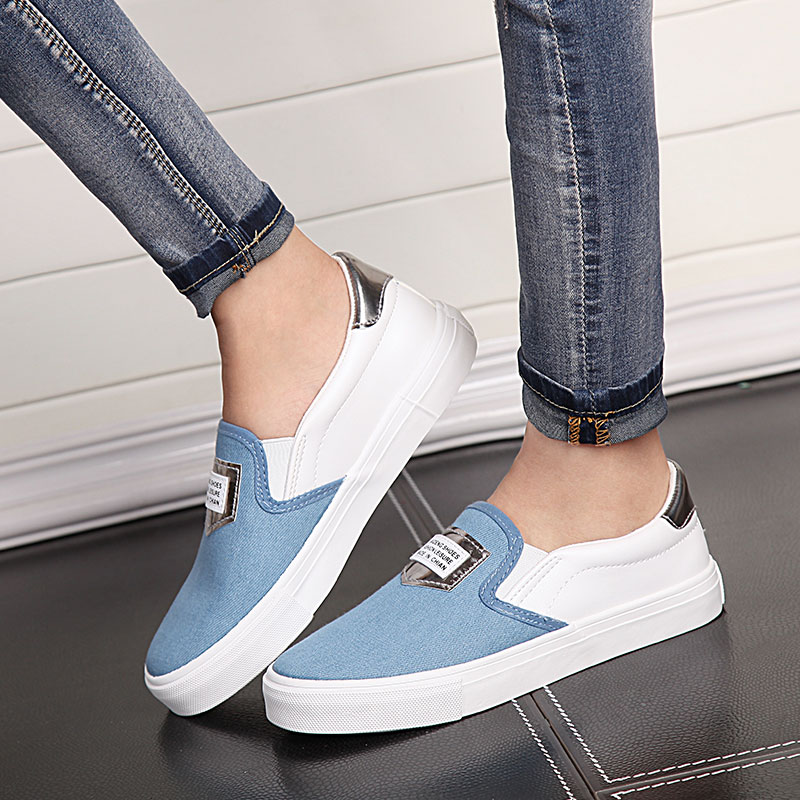 Ms. korean version of madden canvas shoes set foot pedal lazy shoes student shoes ms. washed denim cloth shoes