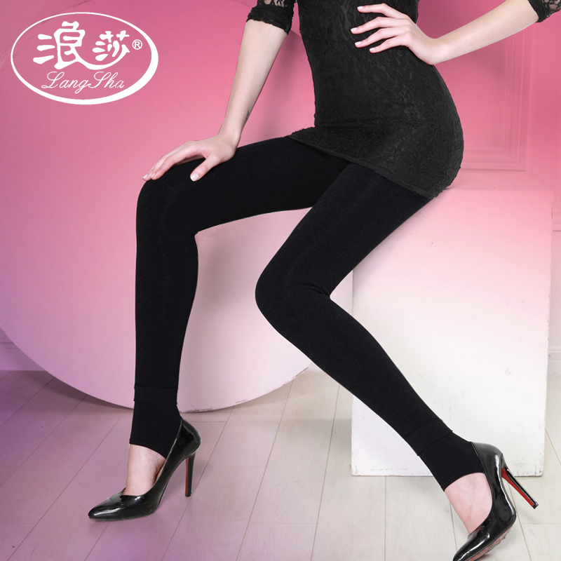Ms. lang sha autumn spring and autumn outer wear leggings pants plus thick velvet autumn and winter influx of large size high waist black