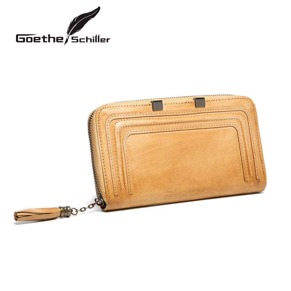 Ms. leather clutch wallet long section of female retro fashion handmade leather clutch bag large capacity wallet bills