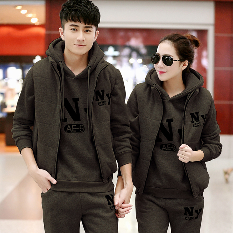 Ms. male xl sportswear three sets of autumn and winter lovers long sleeve hooded track suit trousers sportswear casual wear