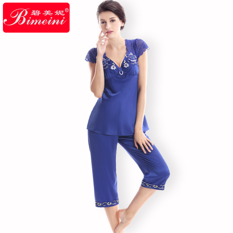 Ms. pitt minnie new spring and summer short sleeve pajamas for women sexy silk tracksuit piece fitted shorts