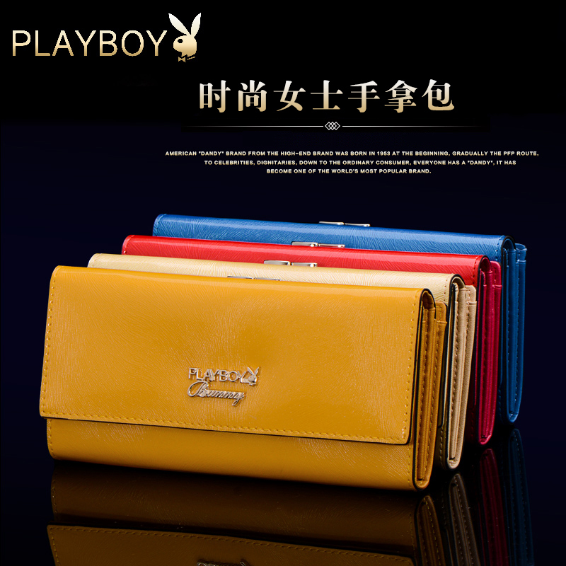 Ms. playboy wallet leather wallet clutch wallet long section bright skin clutch bag fashion handbag