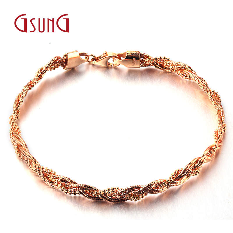 Ms. rose gold bracelet double bead wire GSUNG18K gold soft bracelet au750 k gold bracelet fashion gift