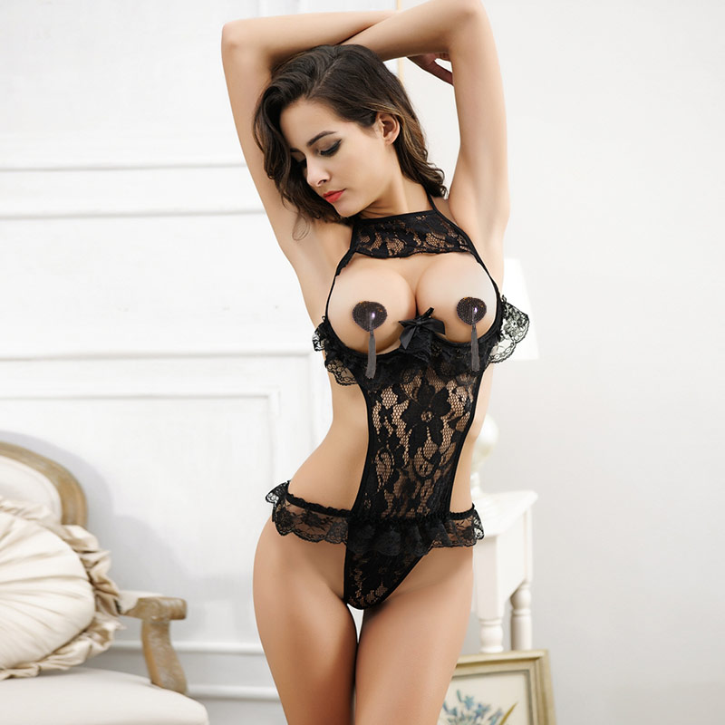 f237e427a1 Get Quotations · Ms. sexy lace leotard chest a hollow bow bikini uniforms  temptation sexy lingerie adult cr