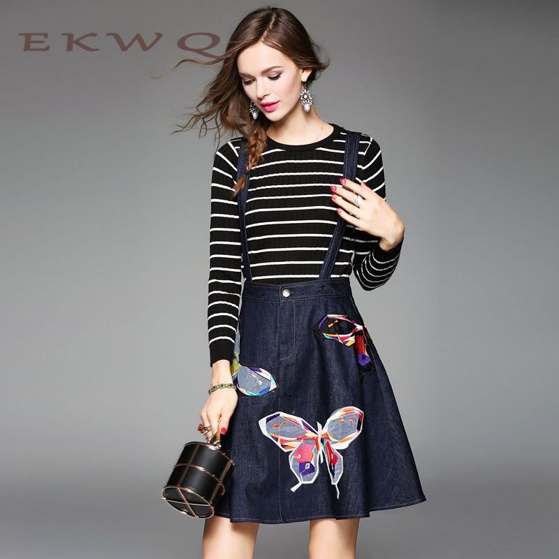 Ms. striped ekwq leisure wild simple knit sweater new winter 2016 european and american fashion suit 0665