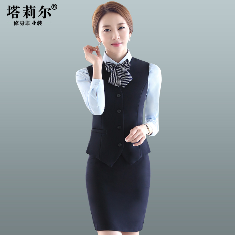 Ms. vest professional business dress suit vest suit temperament autumn fashion front desk bank beautician uniforms