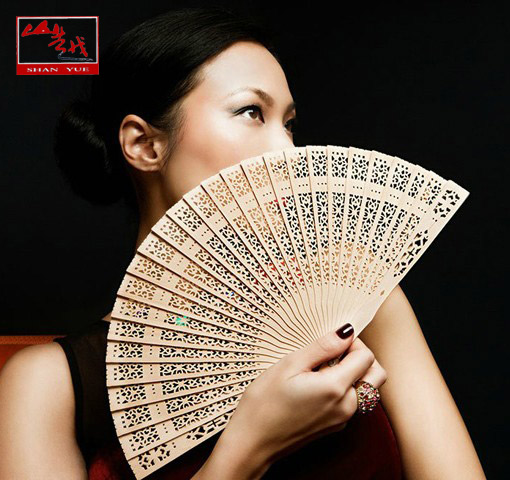 Ms. yue special woodiness fragrant wood craft fan chinese style folding fan sandalwood fan carved hollow birch