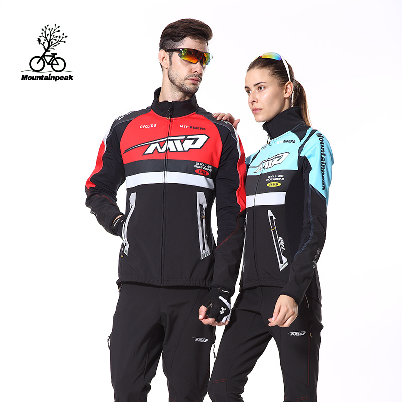 Mtp autumn and winter thick warm fleece long sleeve bike jersey suits for men and women mountain bike riding pants