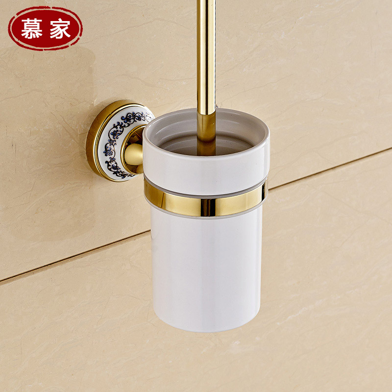 Mu european retro antique bathroom accessories toilet brush with a ceramic zirconium gold plated rod holder combo