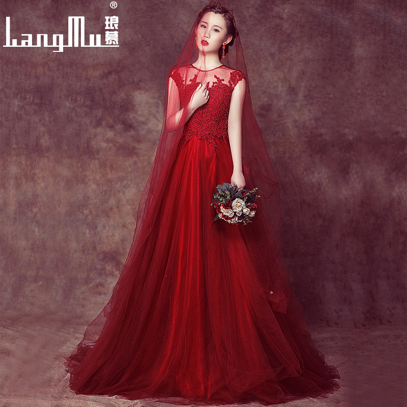 Mu lang 2016 new bride wedding dress red dress in autumn and summer wedding toast clothing slim long evening dresses evening dresses annual meeting