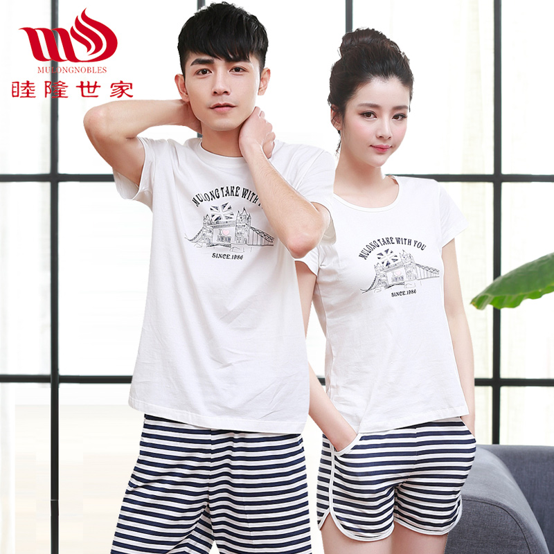 Mu lung family summer clothing shorts short sleeve men and women cotton pajamas suits couples home service ranks casual round neck