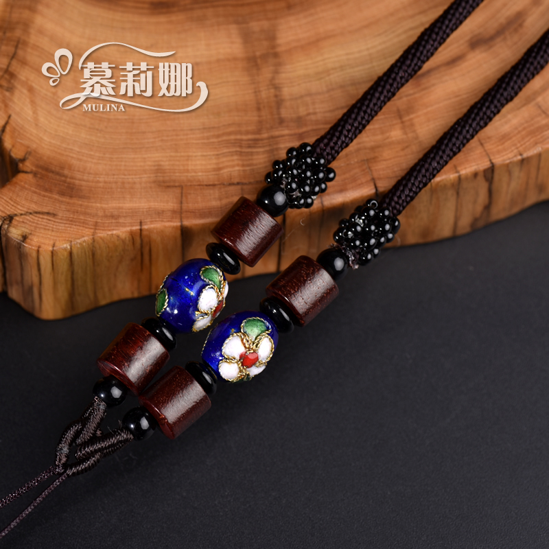 Muli na cloisonn red rosewood jade pendant necklace rope lanyard rope gold emerald jade men and women