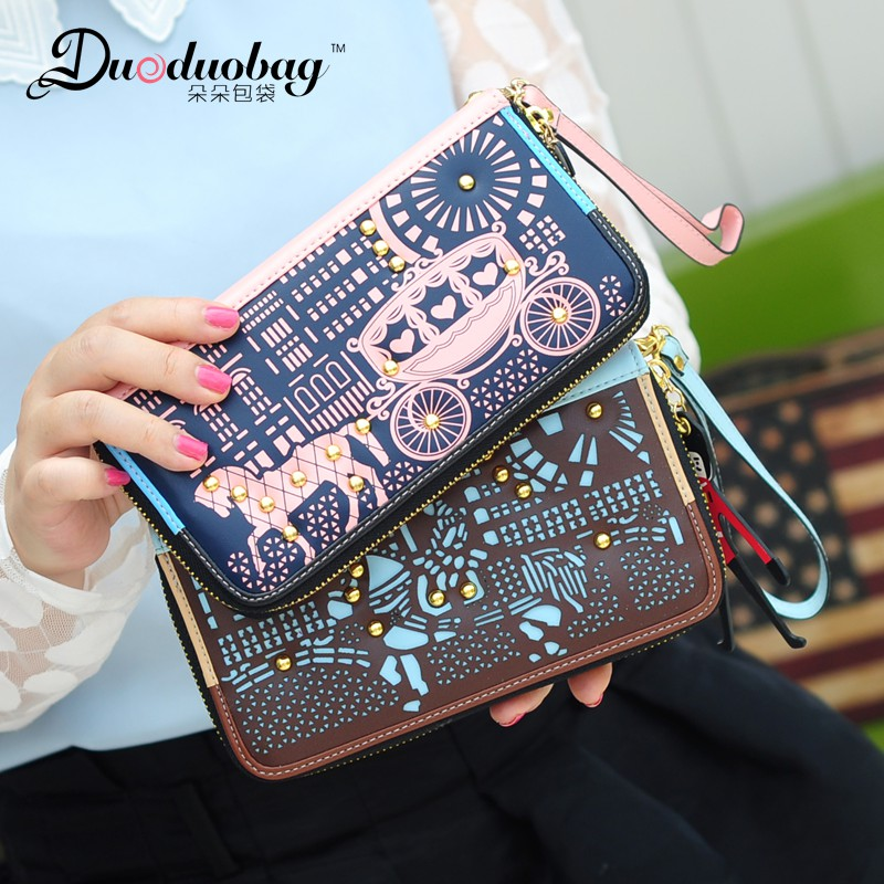 Multifunction leather zipper wallet female long section of ms. duoduobag carriage rivet clutch bag multifunction