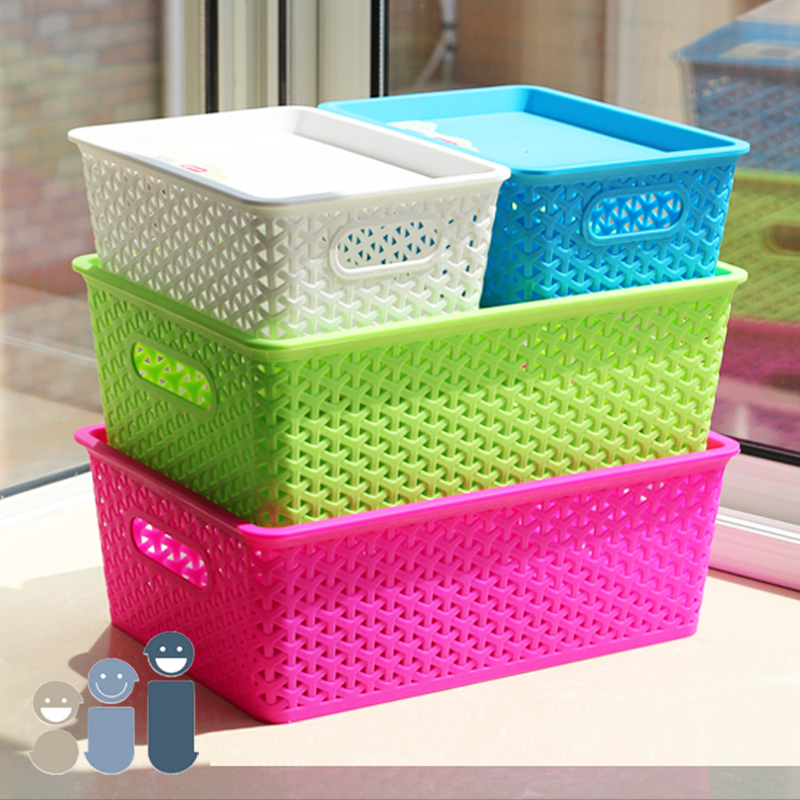 Get Quotations · Multifunctional Plastic Woven Storage Baskets Desktop  Debris Storage Basket With Lid Storage Whole Rationale Box Plastic