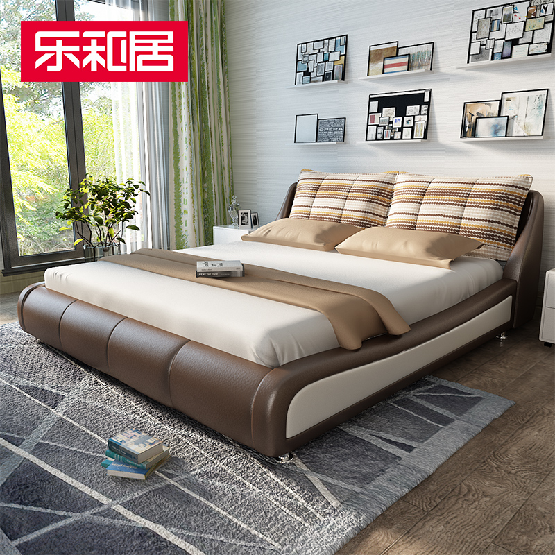 Music and home euclidian wood furniture leather bed leather bed leather bed fabric soft bed double bed furniture pibu