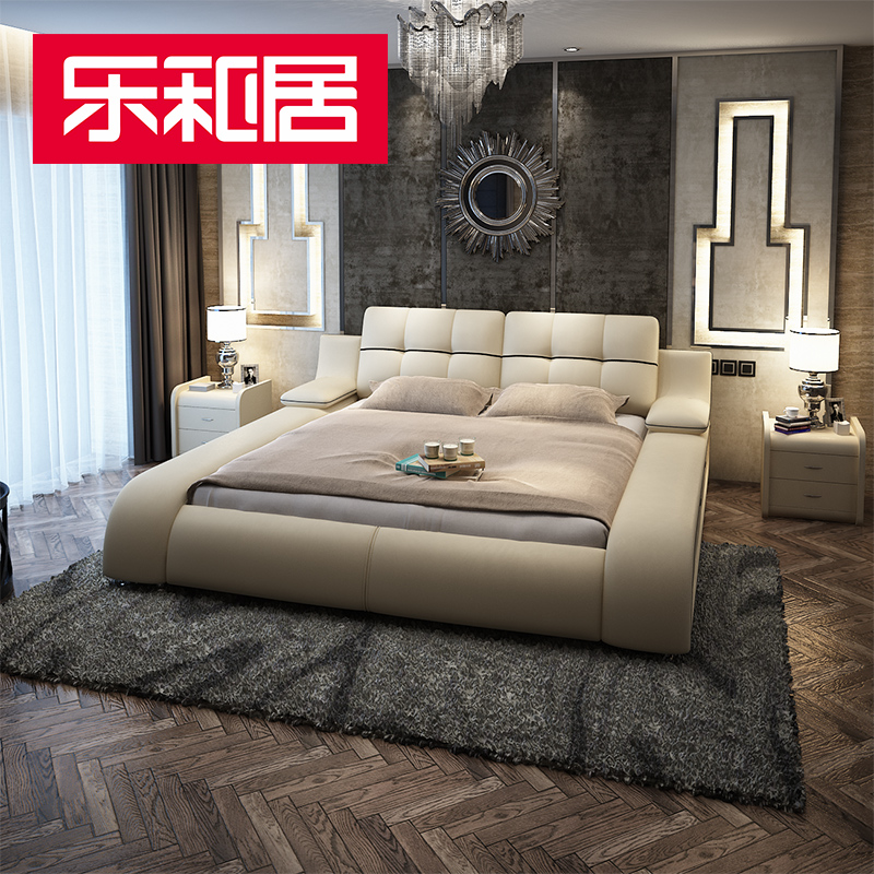 Music and home tatami bed leather bed 1.8 m double bed small apartment leather arts marriage bed modern minimalist bed storage