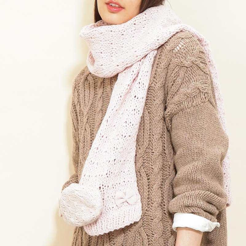 Music for the ladies knitted scarf korean pure wool scarf warm colors of autumn and winter cute korean fashion bow