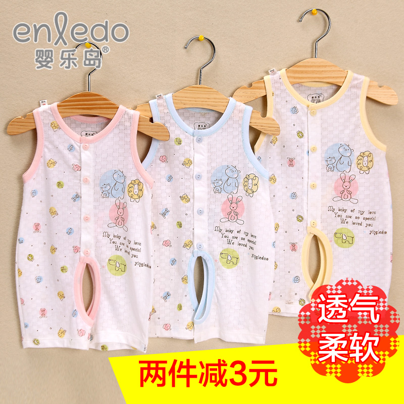 Music island summer infant baby bamboo fiber men vest breathable baby romper climbing clothes leotard crotch