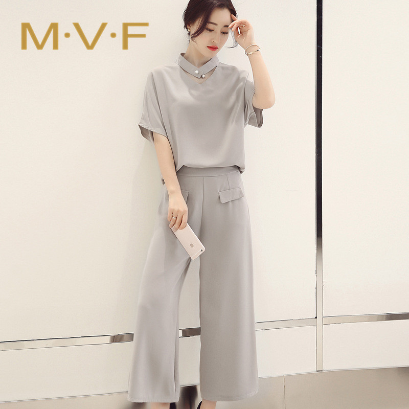 Mvf tops.4. new 2016 summer ladies short sleeve solid color wide leg pants two leisure suit female 2833