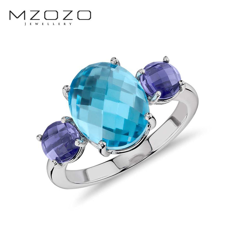 Mzozo jewelry natural blue topaz polished cabochon ring k gold colored gemstone rings