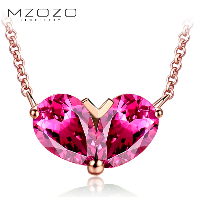 Mzozo k rose gold jewelry natural red tourmaline necklace multicolored colored gemstone necklace female models customized