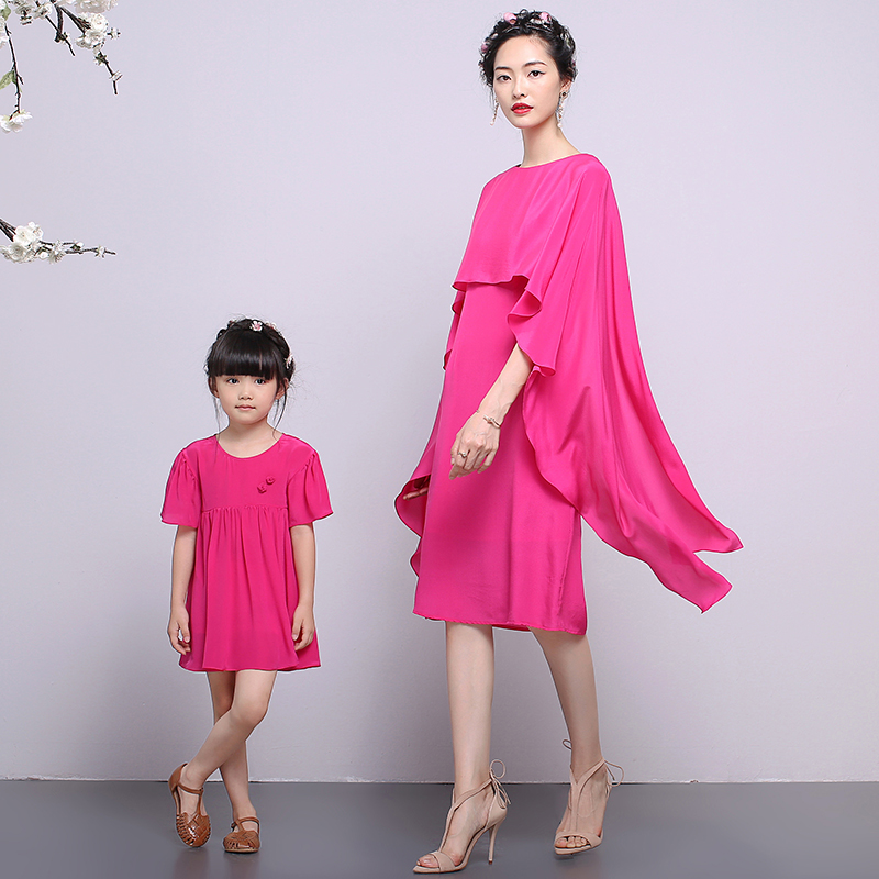 Na yi 2016 summer new european and american family fitted mother and children's clothing fashion casual silk dress LYQ-L57A