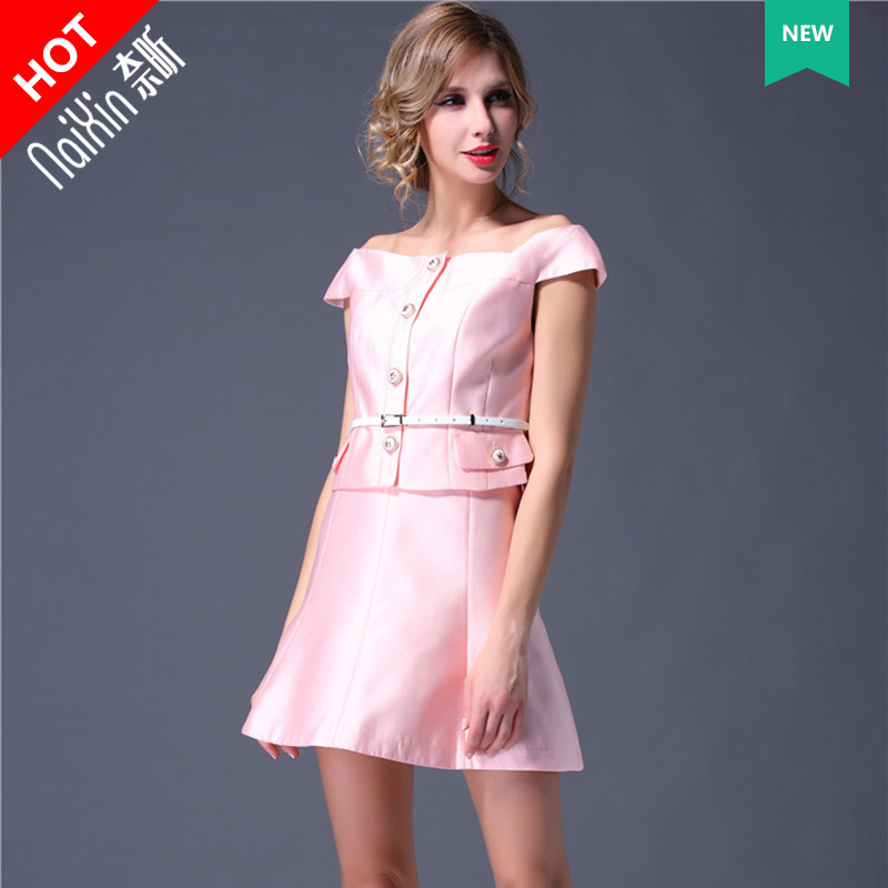 Nai xin custom 20663 high fashion custom collar solid color shirt + a word skirt piece female summer fashion