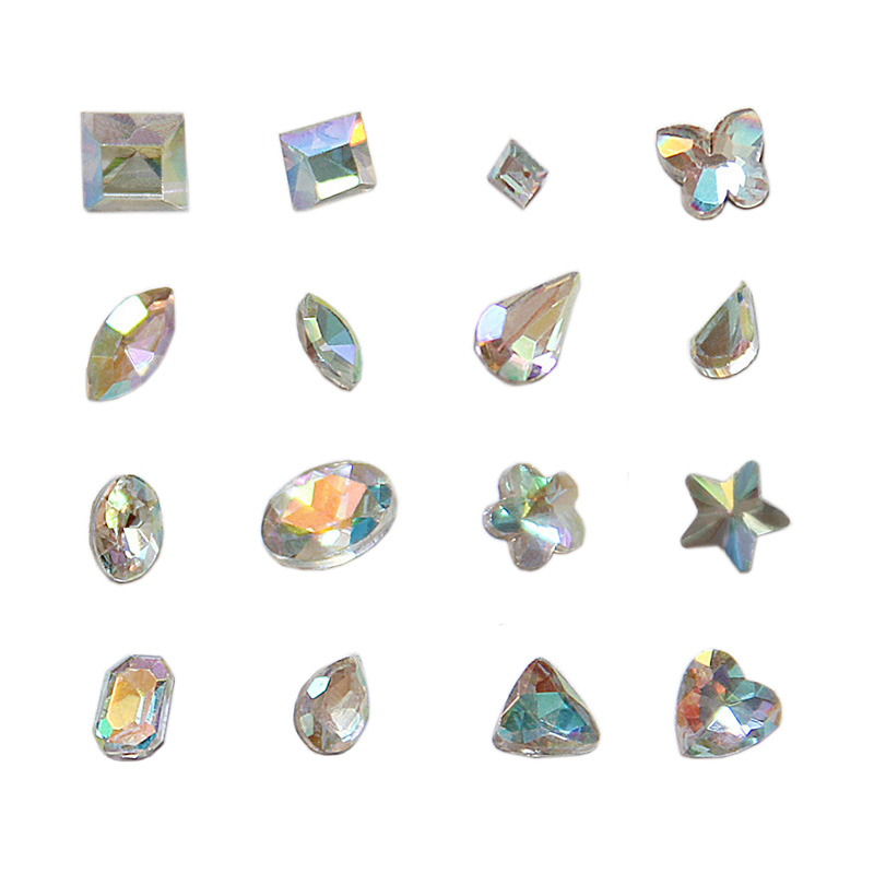 Nail jewelry super flash color diamond shaped glass bottom tip ab diy colorful triangular oval rhinestone stickers supplies