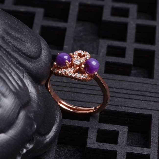 Natural crystal color beautiful 925 silver inlay ring romantic purple shu ju ji su shi