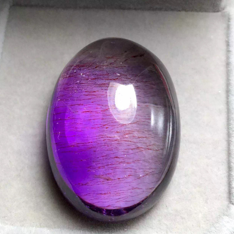 Natural crystal violet purple hair of hair along the crystal pendant luoshi good