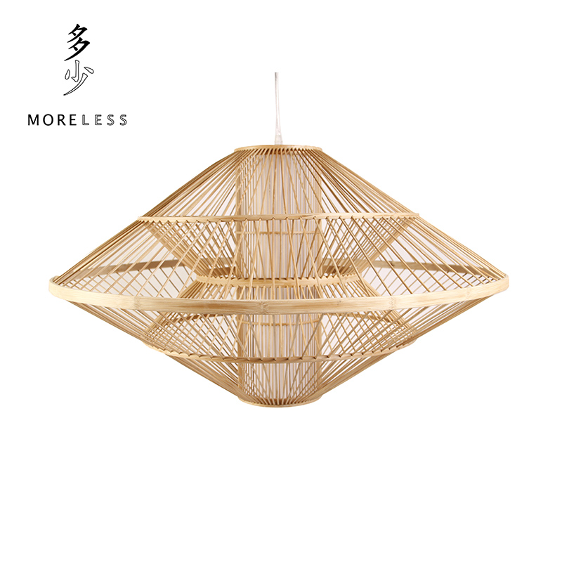 Natural home ufo bamboo chandelier lamp living room dining modern chinese zen tearoom