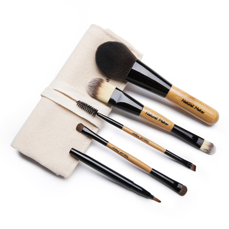 Natural maker portable soft bamboo handle makeup brush set makeup brush set eye shadow brush eyebrow brush