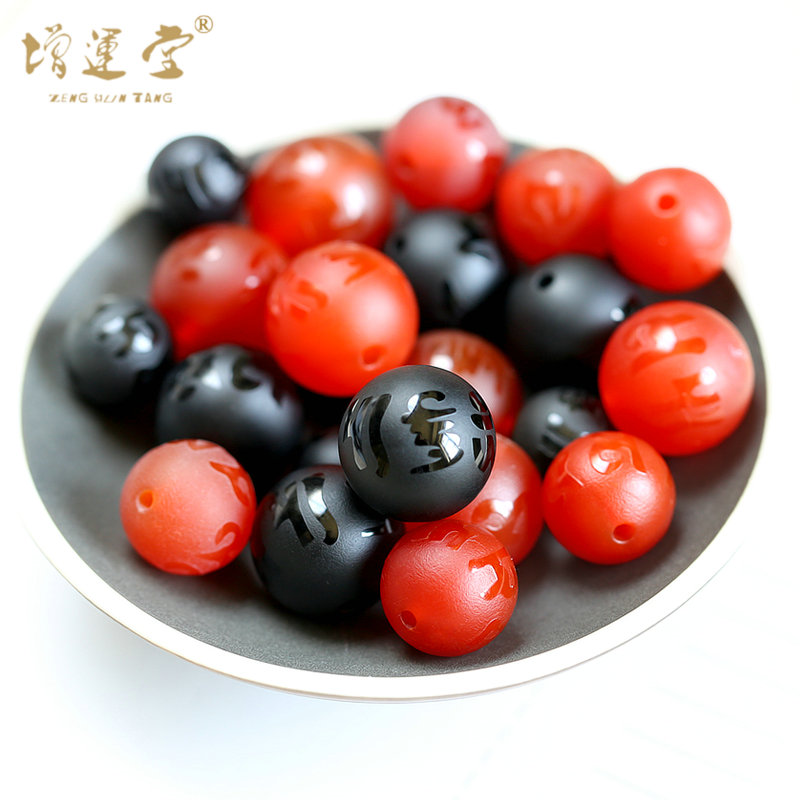 Natural matte mayhidden mantra natural red and black agate beads spacer beads bracelet loose beads jewelry accessories diy