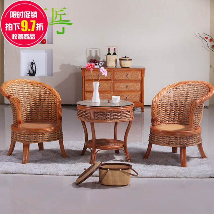 Get Quotations · Natural Plant Rattan Chairs Coffee Table Three Sets Of  Couples Patio Lounge Chair Furniture Chair Indoor