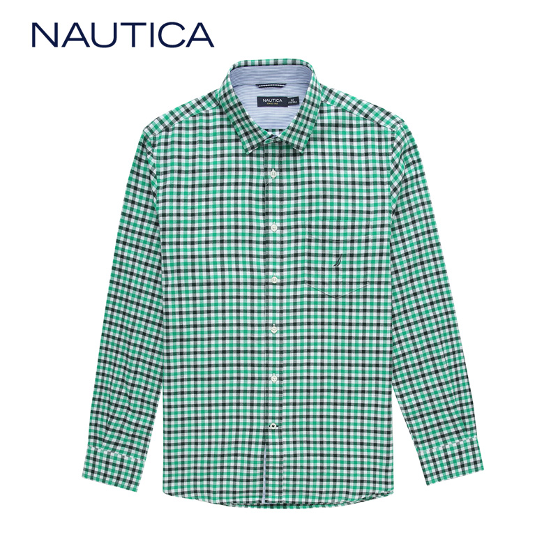 Nautica/nautica 14 years dongkuan men's urban casual cotton plaid long sleeve shirt W44112