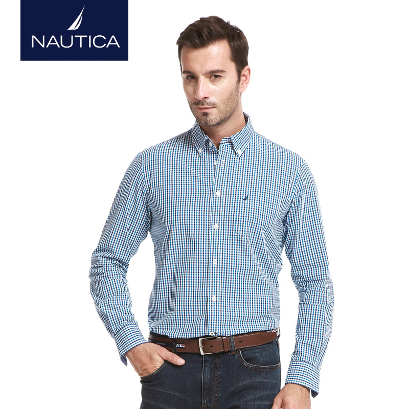 Nautica/nautica men dongkuan men's fashion casual plaid cotton long sleeve shirt W43306
