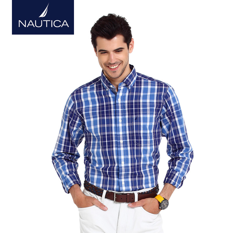 Nautica/nautica men dongkuan men's h thick flannel plaid long sleeve shirt W53129
