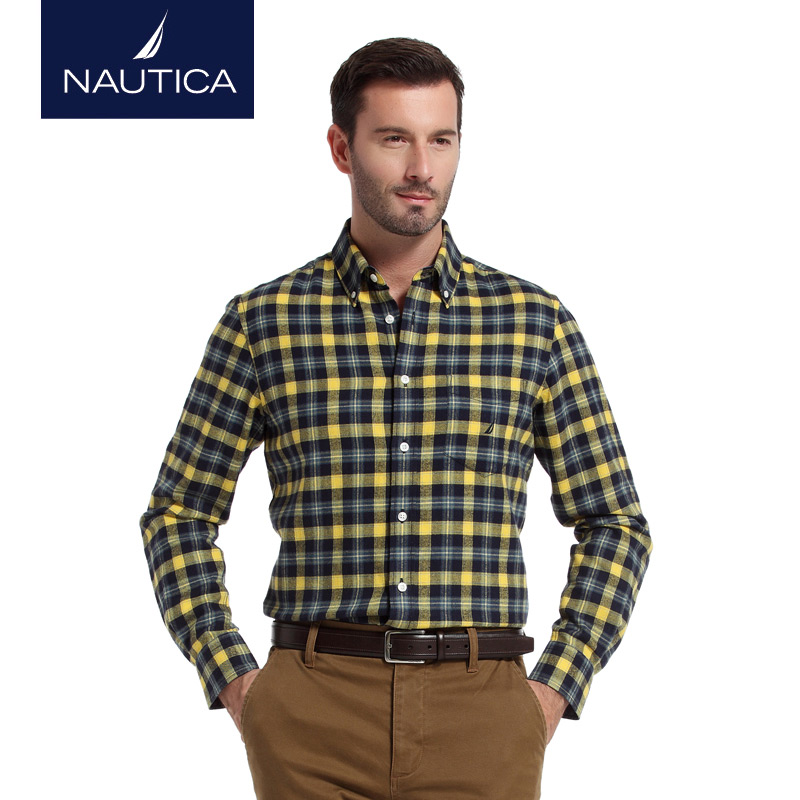 Nautica/nautica men's winter fashion casual flannel plaid men's long sleeve shirt W44151H