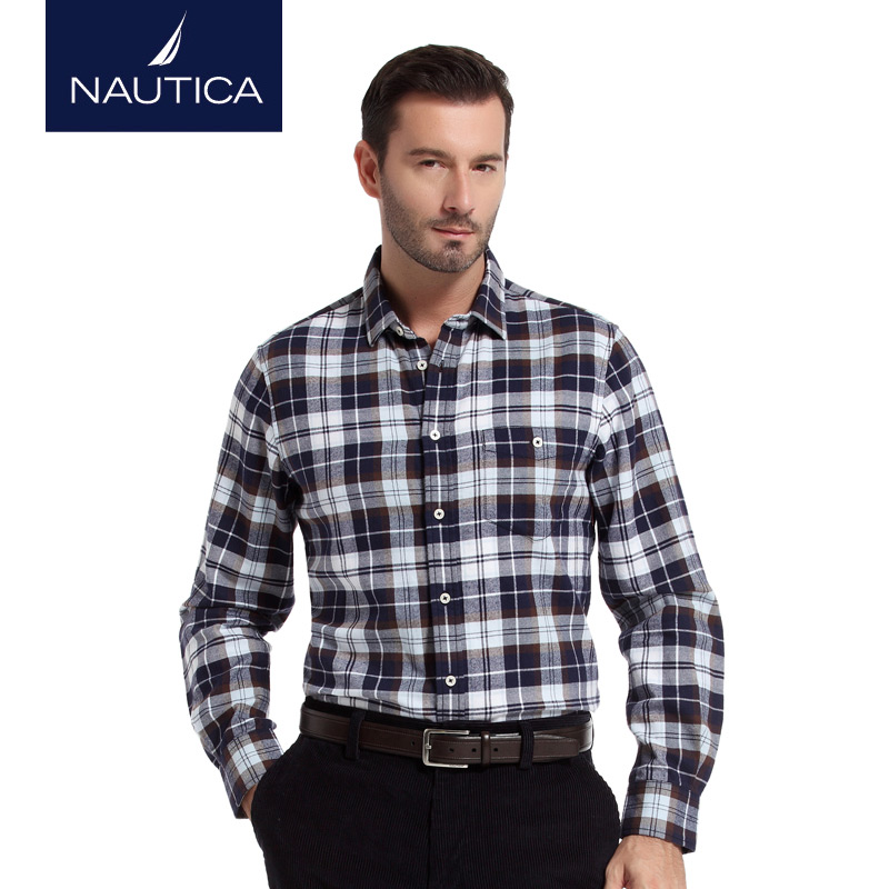 Nautica/nautica men's winter fashion flannel plaid men's long sleeve shirt WC44313H