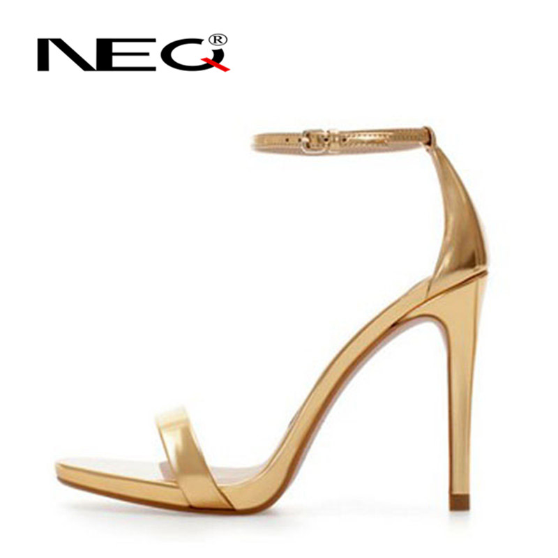 Neq elegant fashion patent leather ankle strap high heels summer sandals open toe shoes 2016 new wild 0650