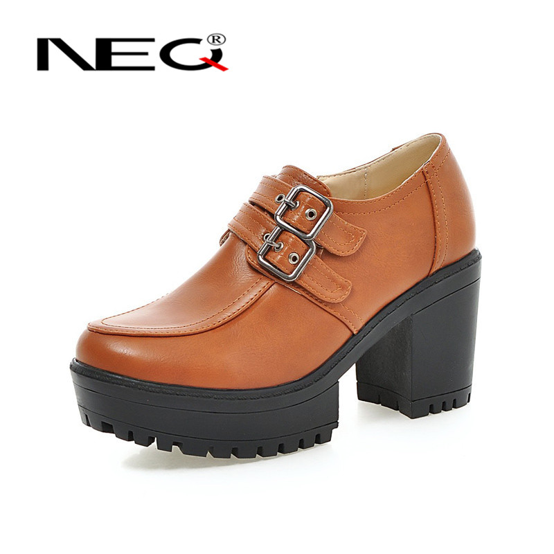 NEQ2016 fashion shoes waterproof women's singles shoes student sweet round low shoes 8857 new deep mouth thick with shoes
