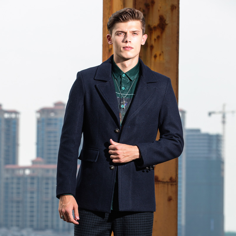 New autumn and winter fashion lvzeren young european and american style short paragraph slim wool coat warm coat male