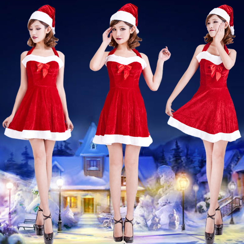 New autumn and winter ms. cute sexy red strapless strapless table play clothes christmas dress sexy lingerie lingerie