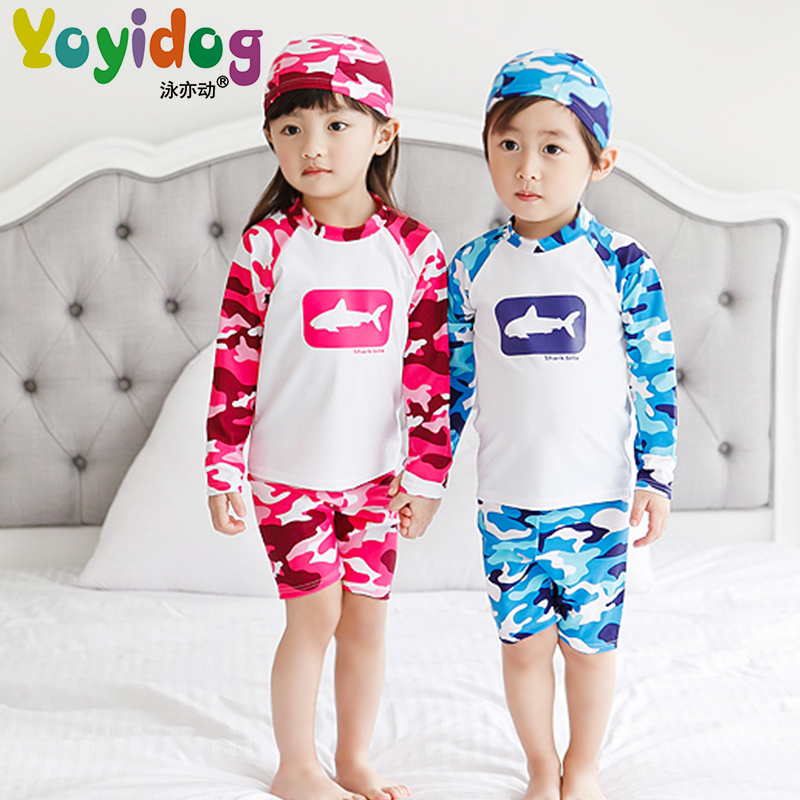 5a182f4ee2149 Get Quotations · New camouflage long sleeve split swimsuit with hat boys  and girls baby spa swimsuit boxer shorts