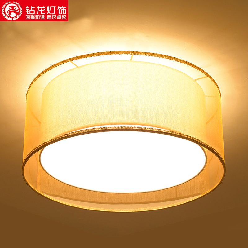 New chinese antique fabric cozy bedroom lamp led ceiling lights round the living room lamp modern minimalist restaurant lamps